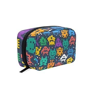 2a62228cc90c Amazon.com : Pixelated Monster Pattern Makeup Case Bag Appropriate ...