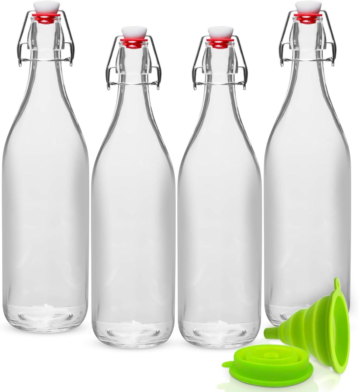 Set of 4-33.75 Oz Swing Top Glass Bottles for Beverages WILLDAN 8541978169 Giara Stopper Leak Proof Caps Vinegar Kefir 2.3 Kombucha Oils Clear