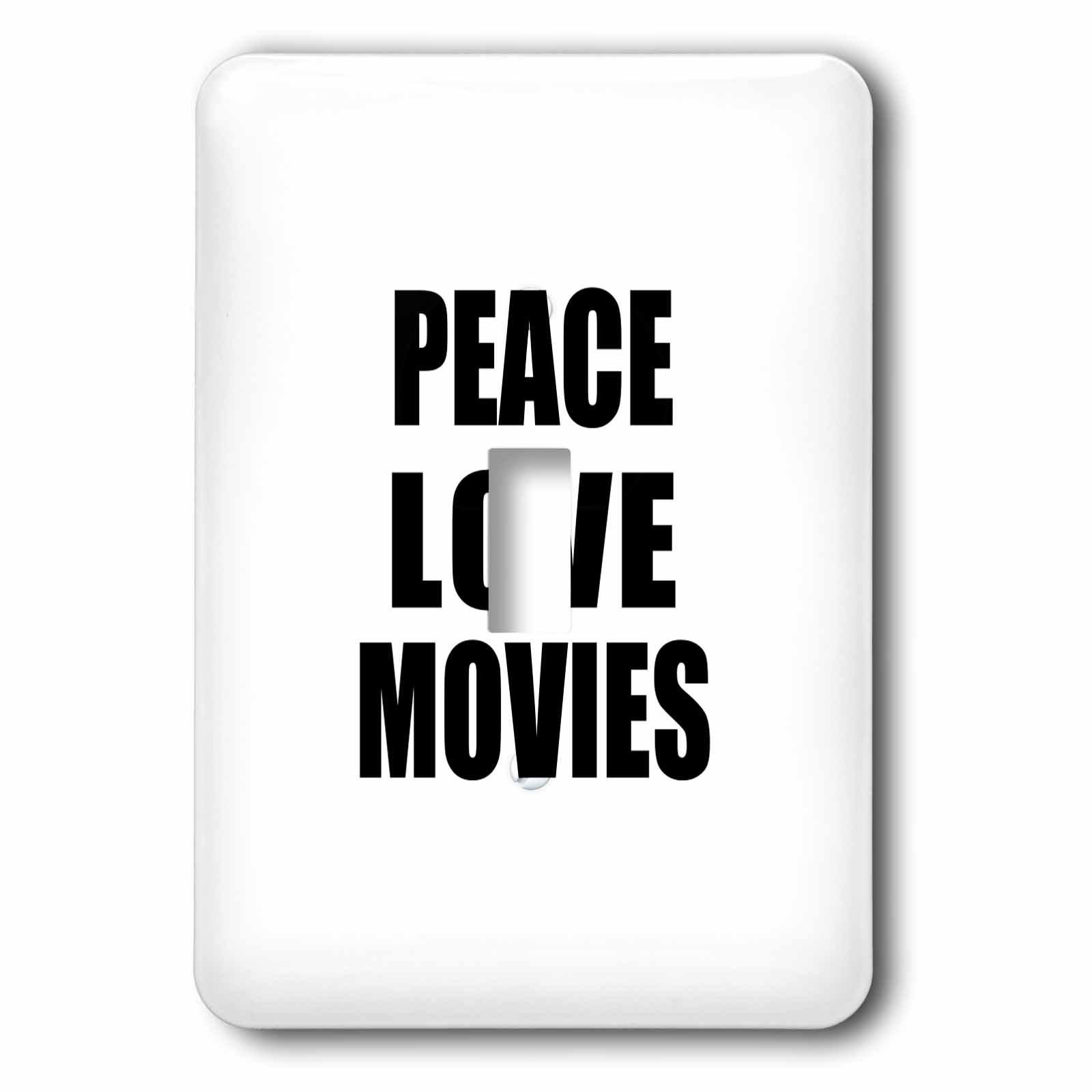 3dRose lsp_184889_1 Peace Love And Movies Things That Make Me Happy Movie Buff Gift Toggle Switch