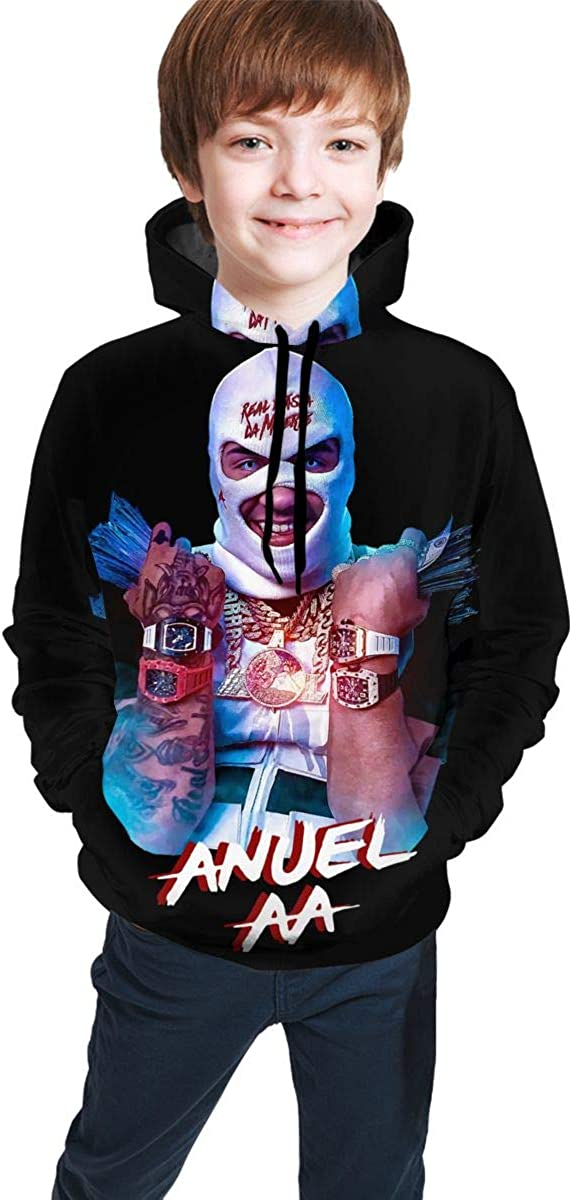 Anuel AA Hoodie 3D Printing Pullovers for Youth Boys and Girls Sweatshirt Pullover Pockets