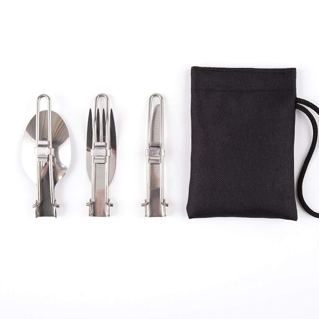 Weform 3Pcs Folding Stainless Steel Knife Fork Spoon Outdoor Tableware Cutlery Set Flatware Sets