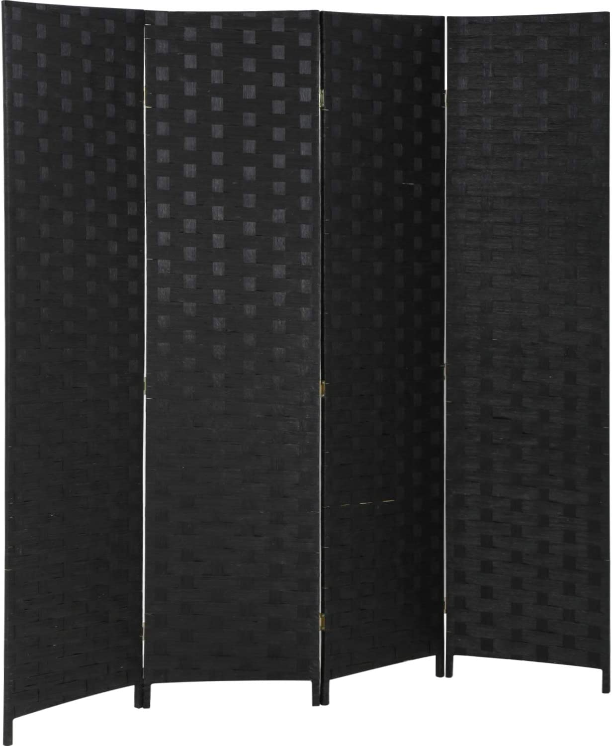 FDW Room Divider 6FT Wall Divider Wood Screen 4 Panels Wood Mesh Hand-Woven Design Room Screen Divider Indoor Folding Portable Partition Screen,Black: Furniture & Decor