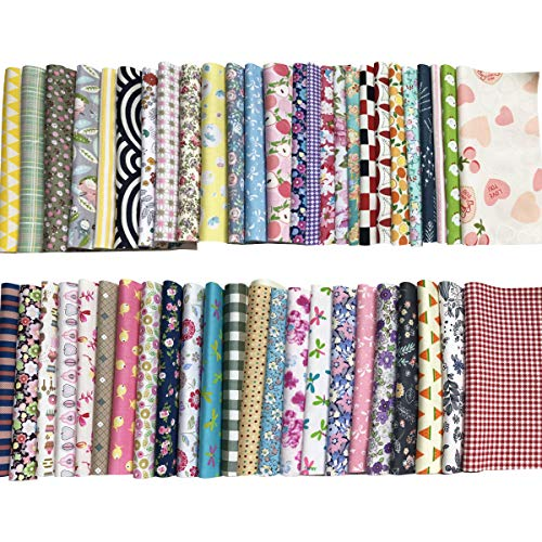 Gnognauq 50 pcs Fabric Squares Sheets Patchwork Craft Cotton Quilting Fabric Bundles DIY Patchwork Crafts with with Different Patterns for Crafts (20cmx20cm) -