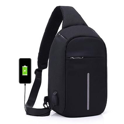 831da986fb4f Amazon.com: Anti Theft Sling Bag with USB Charging Port Shoulder ...