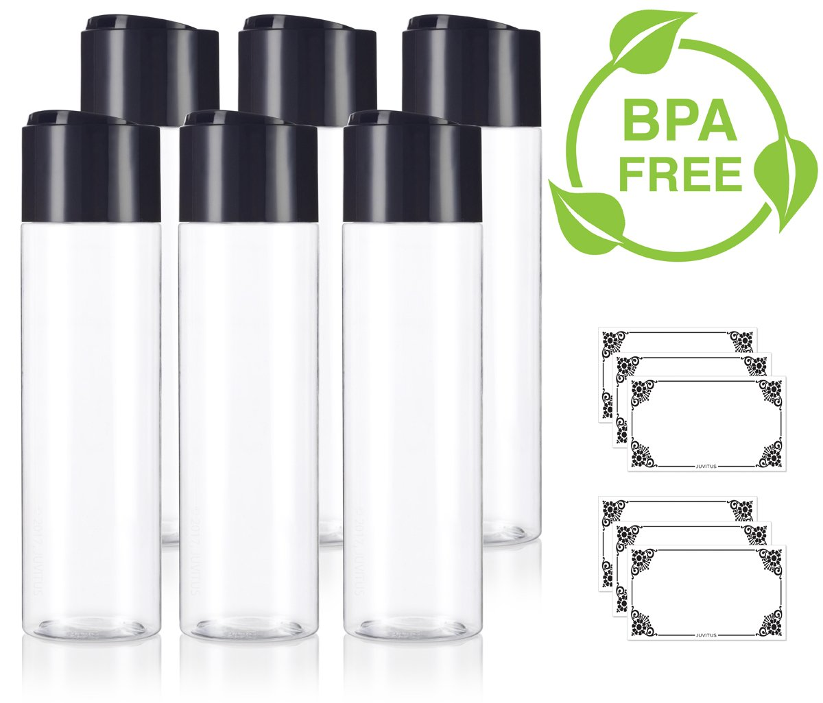 Clear 8 oz 250 ml Professional Cylinder PET Bottles BPA Free with Wide Black Disc Cap Lid 6 Pack Labels for Shampoo, Conditioner, Body Wash, Lotion, and More