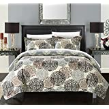 Chic Home 1 Piece Judith Boho Inspired Reversible Print Quilt Set, Queen, Beige