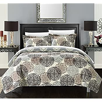 Amazon.com: Chic Home 3 Piece Kelsie Boho Inspired Reversible ... : beige quilt - Adamdwight.com
