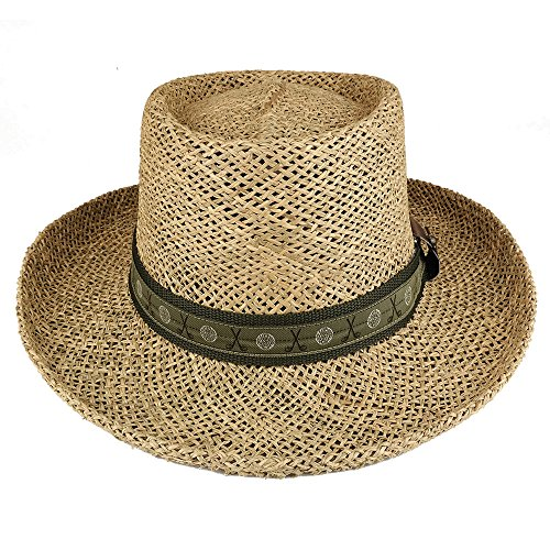 76565c56b8c2c Home   Clothing   Accessories   Cowboy Hats   UV 50+ Men s Straw Summer Gambler  Hat with Golf Theme Hat Band - NATURAL