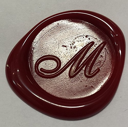 100 pack of Wax Seals: Self adhesive wax seal sticker - M - Shelley Allegro Font - Red - 3/4