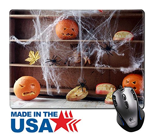 "MSD Natural Rubber Mouse Pad/Mat with Stitched Edges 9.8"" x 7.9"" IMAGE ID: 31202628 Halloween pantry with spider web covered shelves crawling with large black spiders and orange jack o lanterns with s (Halloween O Helloween)"