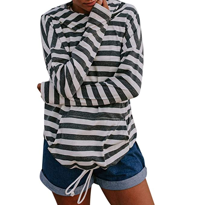 Blusas Mujer 2018 Casual con Capucha,Rayas Horizontales Moda Casual Suelto Camiseta Top con Bolsillos