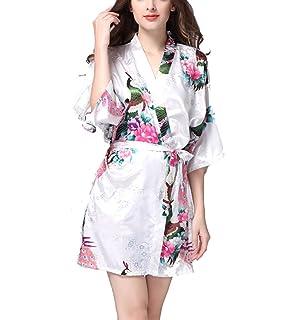 ab1aa649fc928 TieNew Kimono Japonais en Satin Sexy Robe de Chambre 1/2 Manches Peignoir- Femme