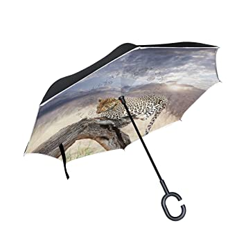 Mnsruu Paraguas invertido Leopard en Bush Doble Capa Plegable Paraguas Resistente al Viento UV Paraguas de