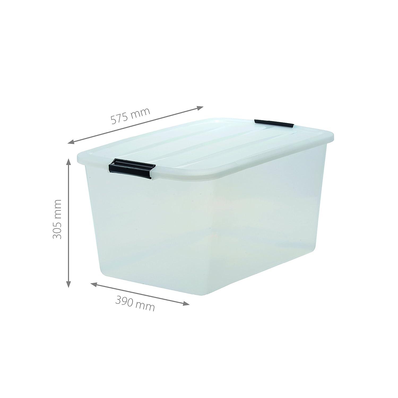 Iris - Juego de cajas con Comercio y tapa, sistema de ordenación, plástico, tapa Transparente, Set de 6 (Large): Amazon.es: Hogar