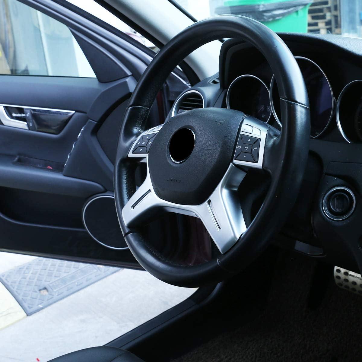 DIYUCAR Matte Silver ABS Chrom f/ür Benz C-Klasse W204 C180 C200 2011-2013 Auto Lenkraddekoration Zubeh/ör E ML GL-Klasse W212 X166 W166