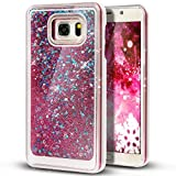 Liquid Case for Samsung Galaxy S7,Creative Design Floating Bling Glitter Sparkle Diamond Hexagon Stars Hard Plastic Case for Samsung Galaxy S7(Rose)