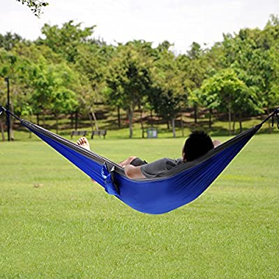 Parachute Nylon Fabric Hammock Travel Camping for Single One Person Size with Free Pen (Blue and gray(one person))