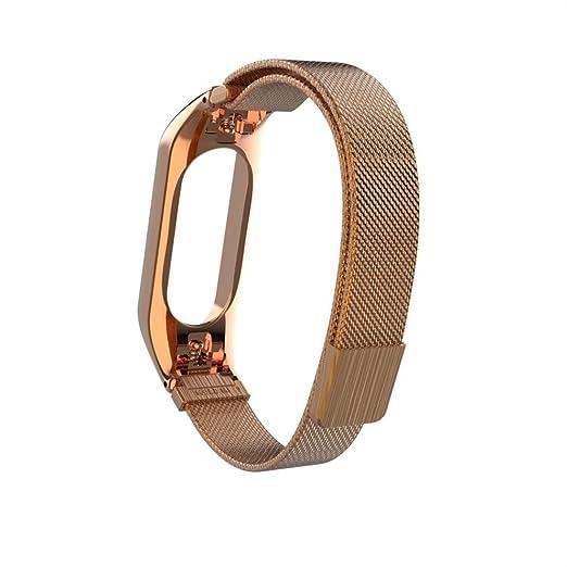 Correa de reloj inteligente Para Xiaomi MI Band 3, Sencillo Vida, Nueva pulsera ligera de acero inoxidable de moda, Diseño de hebilla magnética: Amazon.es: ...