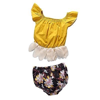 Minuya Ensembles Bébé Fille Ete, Manchon volant Coton Tops + Floral Triangle Pantalon Tenues Vêtements Bebe