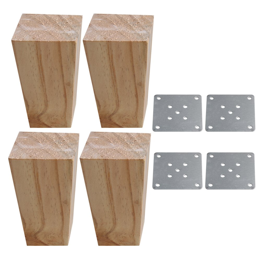 Yibuy 4X Wood Color Pine Wood Trapezoidal Sofa Furniture Leg Lifter 12cm High etfshop