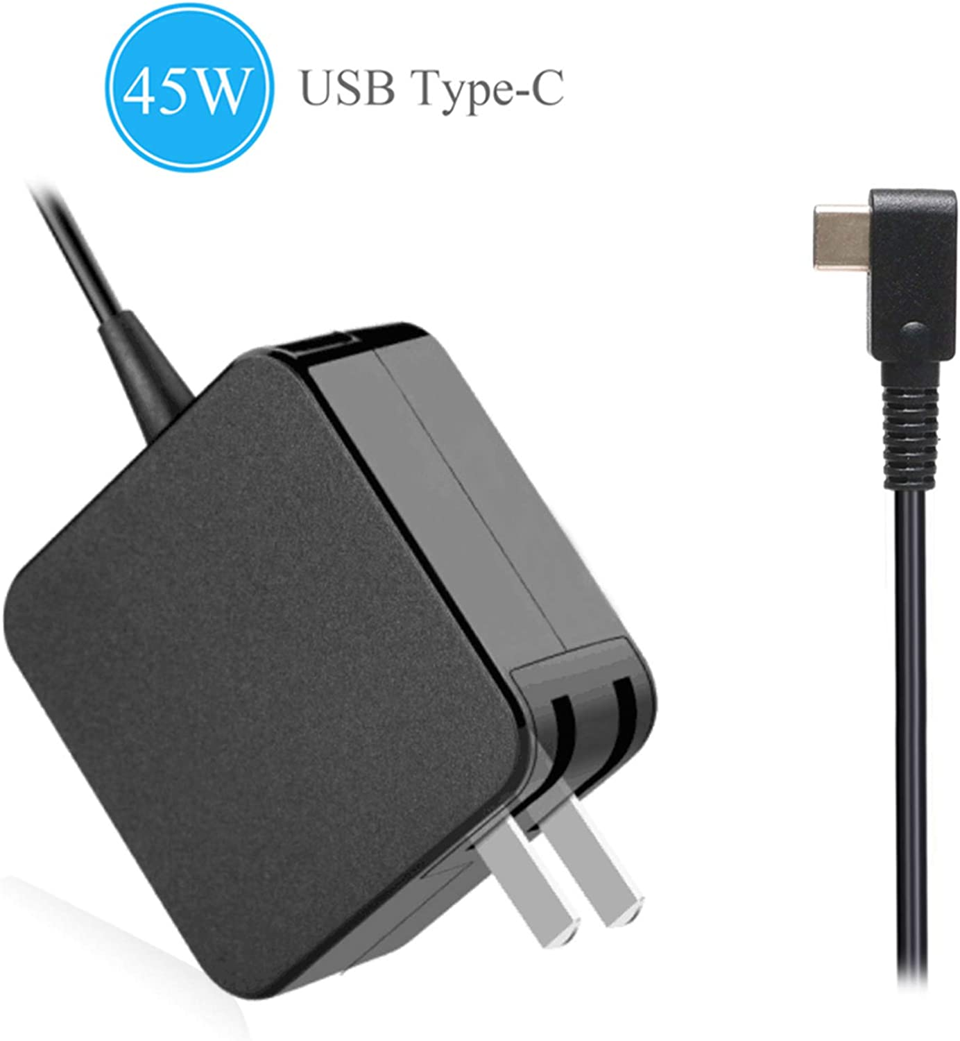 45W USB Type-C AC Adapter Laptop Wall Charger Replacement for HP Spectre x360 13 HP Pavillion X2; Lenovo ThinkPad X1 Carbon 2017 Yoga 910 720 13