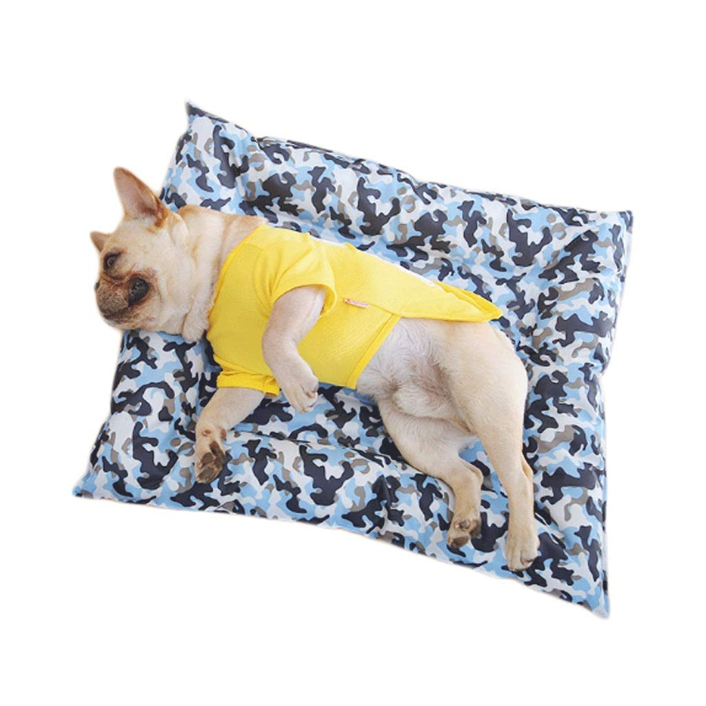 Camouflage (mosquito repellent) GJ Pet Nest Medium For Summer Ice Pad Medium Small Dog Pet Cat Litter Waterproof Cooling Mosquito Repellent Mat (color   Pattern bluee (mosquito repellent))