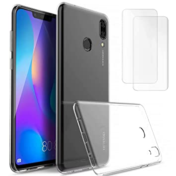 DYGG Compatible con Funda para Huawei p30 2* Protector de Pantalla Carcasa Forro Transparente TPU Silicona Flexible Case+