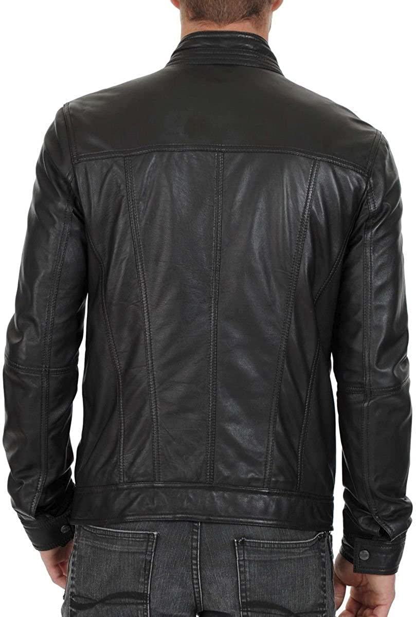 Mens Leather Jacket Bomber Motorcycle Biker Real Lambskin Leather Jacket for Mens Black