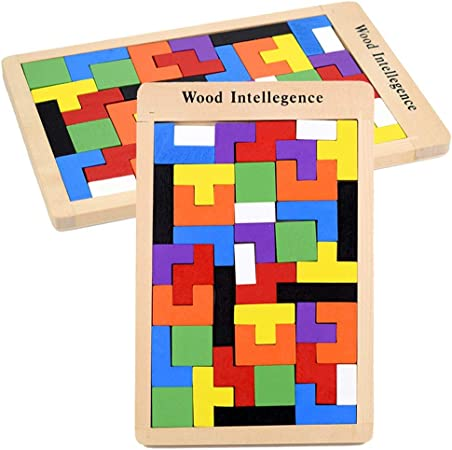 Kanqingqing Juego de Bloques Bloques de construcción de Inteligencia de Madera educativos Tetris para niños Bloques de construcción de educación temprana: Amazon.es: Hogar