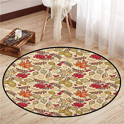 Living Room Round Rugs,Rowan,Fall Season Themed Mixed Pattern with Maple Birch Oak Autumn Leaves and Ashberries,Sofa Coffee Table Mat,2'11