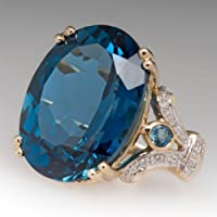 CanVivi Huge Lmitation Diamond Ring Bridal Shiny Cubic Zircon Ring Jewelry Gift for Women,Blue,9