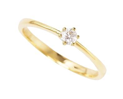 Goldring mit stein  MyGold Damen-Verlobungsring Gelbgold Weißgold Weissgold 585 Gold ...