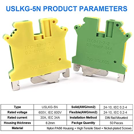 DINKLE 4MM 10 PIECE DIN RAIL TERMINAL PACK EARTH