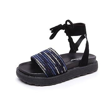 ShangYi Fairy Schuhe Gurt Retro-Sommer-Sandalen weiblichen Sommer neuen flachen Boden Roman Studenten dicken Boden...