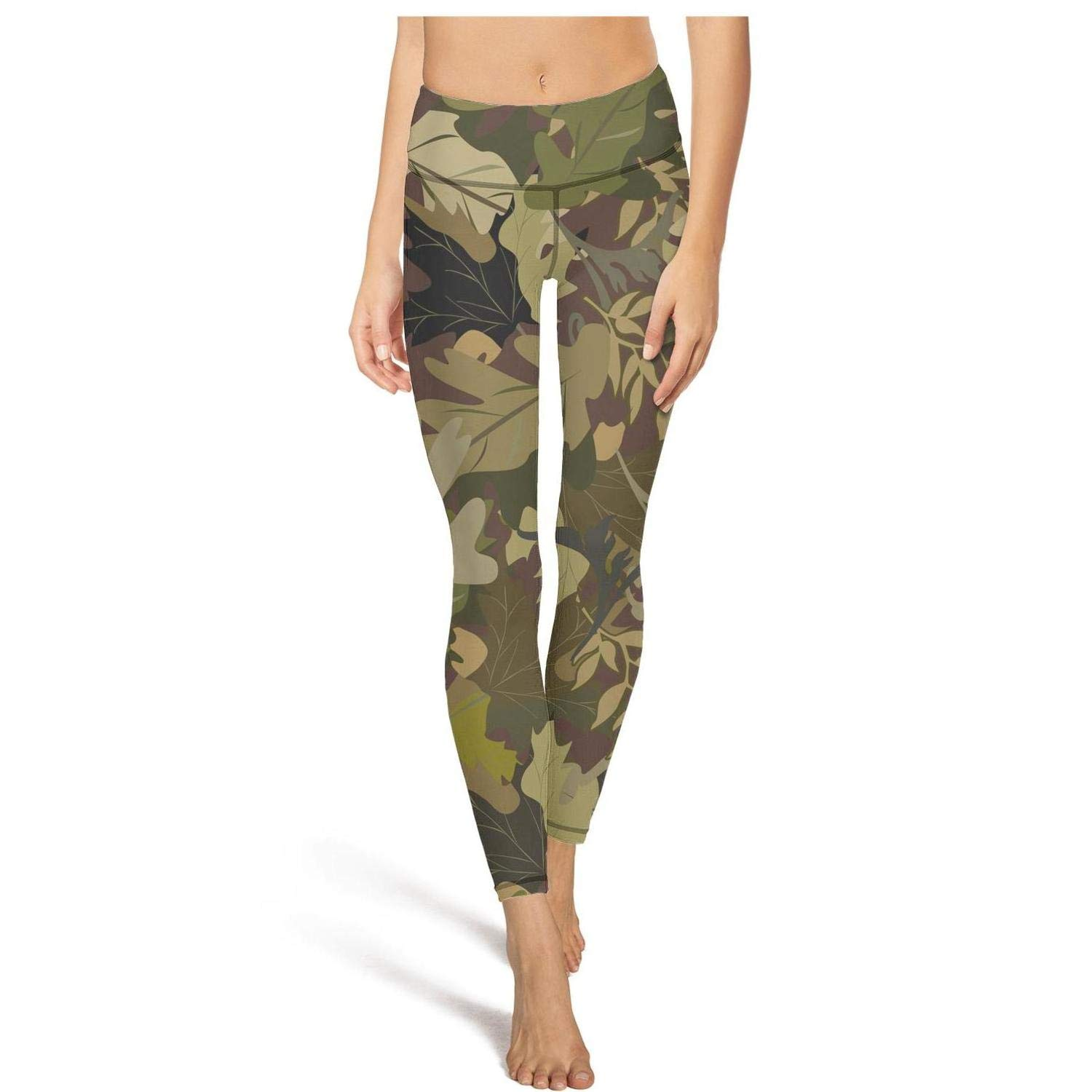 MollyWord Military Camo Camouflage Texture Workout Running Leggins for Women Tummy Control Essential Yoga Pants with Pockets