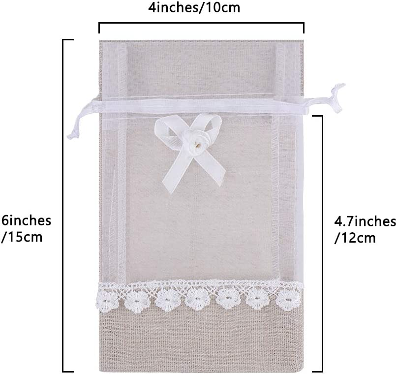 SumDirect 20Pcs 4x6 High Quality Elegant Linen Organza Lace Bow Drawstring Pouches Wedding Party Christmas Holiday Favor Gift Bags Organza with Bow