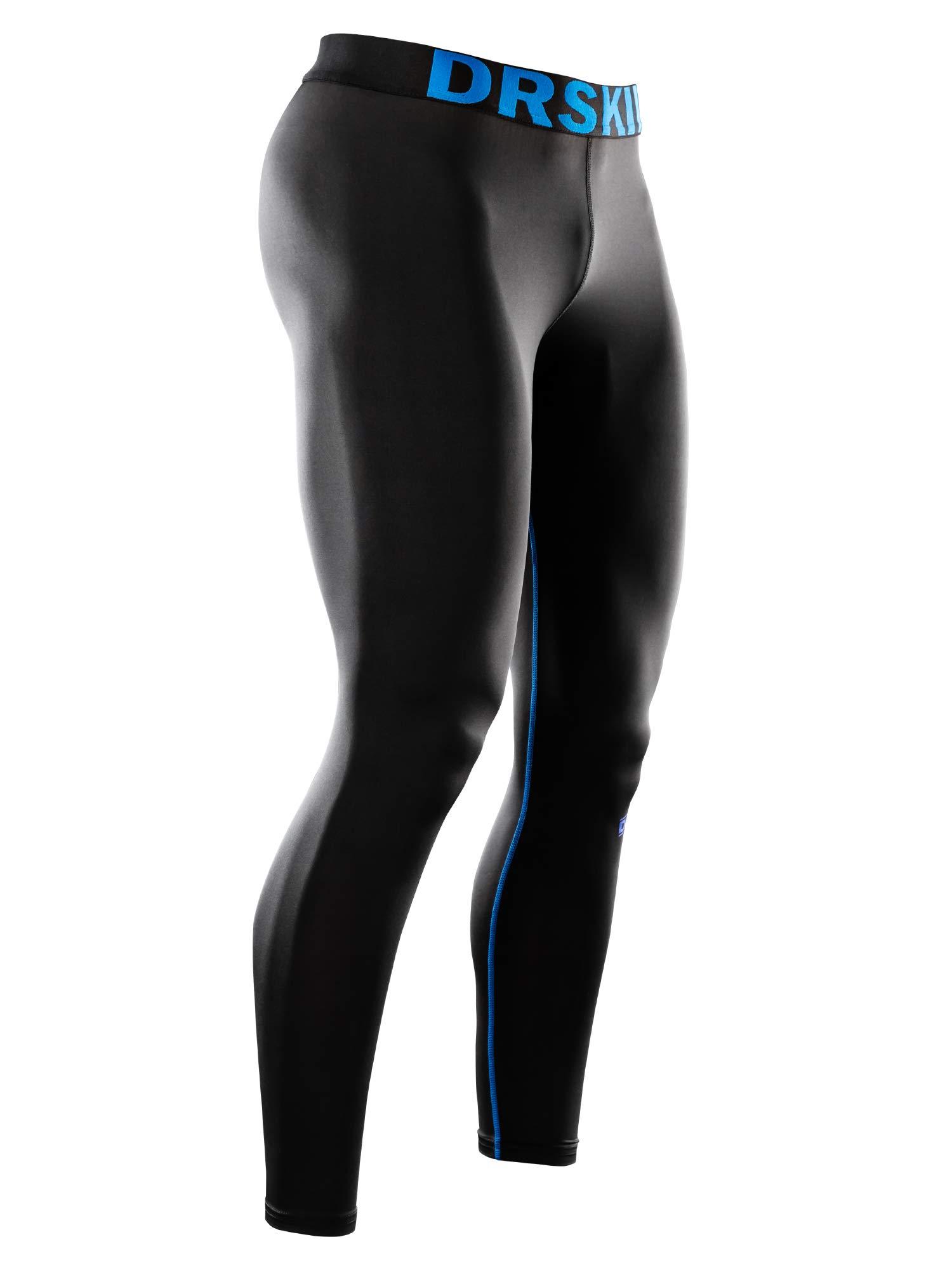 DRSKIN Compression Cool Dry Sports Tights Pants Baselayer Running Leggings Yoga Rashguard Men (Simple BU-BU16, XL) by DRSKIN