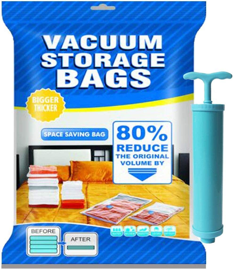 Amazon Com Upgrade Vacumn Storage Bags 12 Pack 80 Space Saver Sealed Vaccume Sealer Bags For Clothes Comforters Mattress Pillows Travel Hand Pump Included Double Zip Seal Lock 3 X Jumbo Large Medium Small Home Improvement