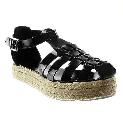Angkorly - Zapatillas Moda Alpargatas Sandalias Gladiator Correa de Tobillo Mujer Multi-Correa Cuerda Plataforma 3 CM: Amazon.es: Zapatos y complementos