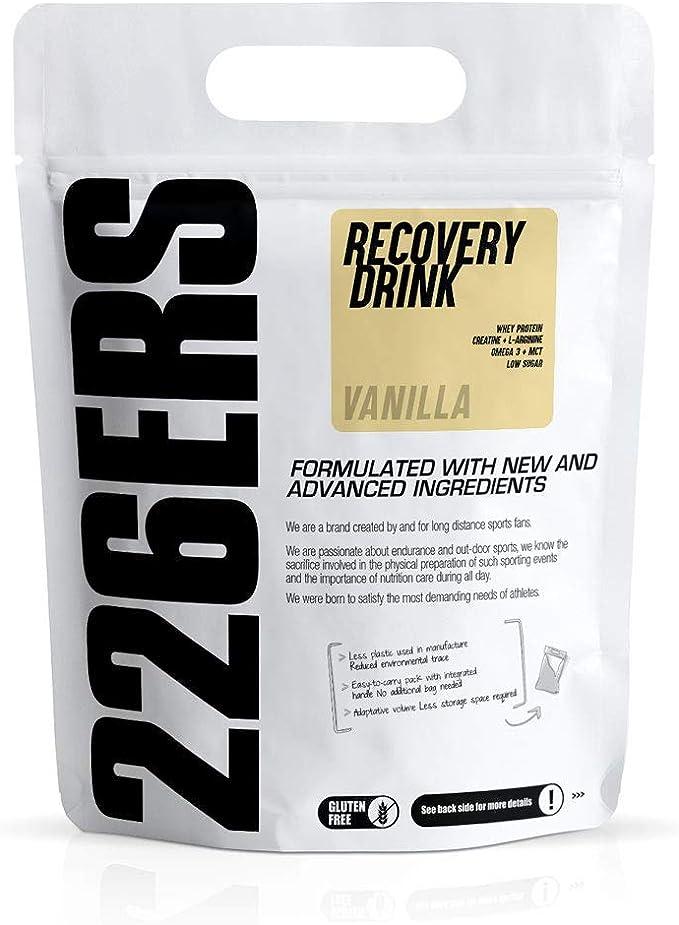 226ERS Recovery Drink, Recuperador Muscular con Proteína Whey, Creatina, Hidratos de Carbono, Triglicéridos y L-Arginina, Vainilla - 500 gr