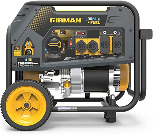 Firman H05754 7125 5700 Watt 120 240V Recoil Start Gas or Propane Dual Fuel Portable