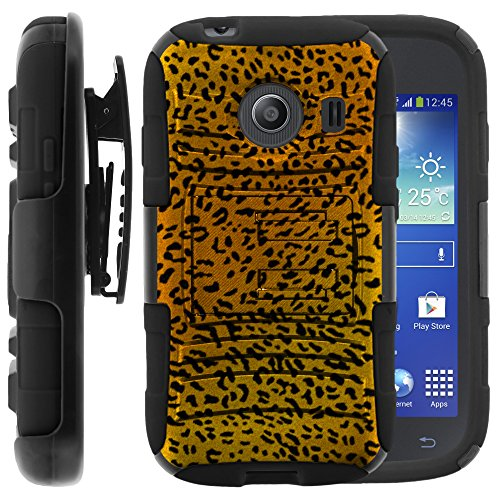 Samsung Galaxy Ace Style Case, Samsung Galaxy Ace Style Holster, Two Layer Hybrid Armor Hard Cover with Built in Kickstand for Samsung Galaxy Ace Style S765C SM-G310 from MINITURTLE | Includes Screen Protector - Leopard Pattern