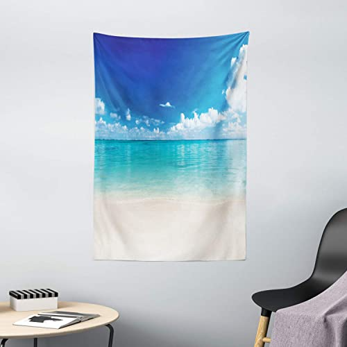 Ambesonne Ocean Tapestry, Natural Coastal Sandy Beach and Carribean Seashore Heavenly Paradise View Image, Wall Hanging for Bedroom Living Room Dorm Decor, 40 X 60 , Blue Aqua White