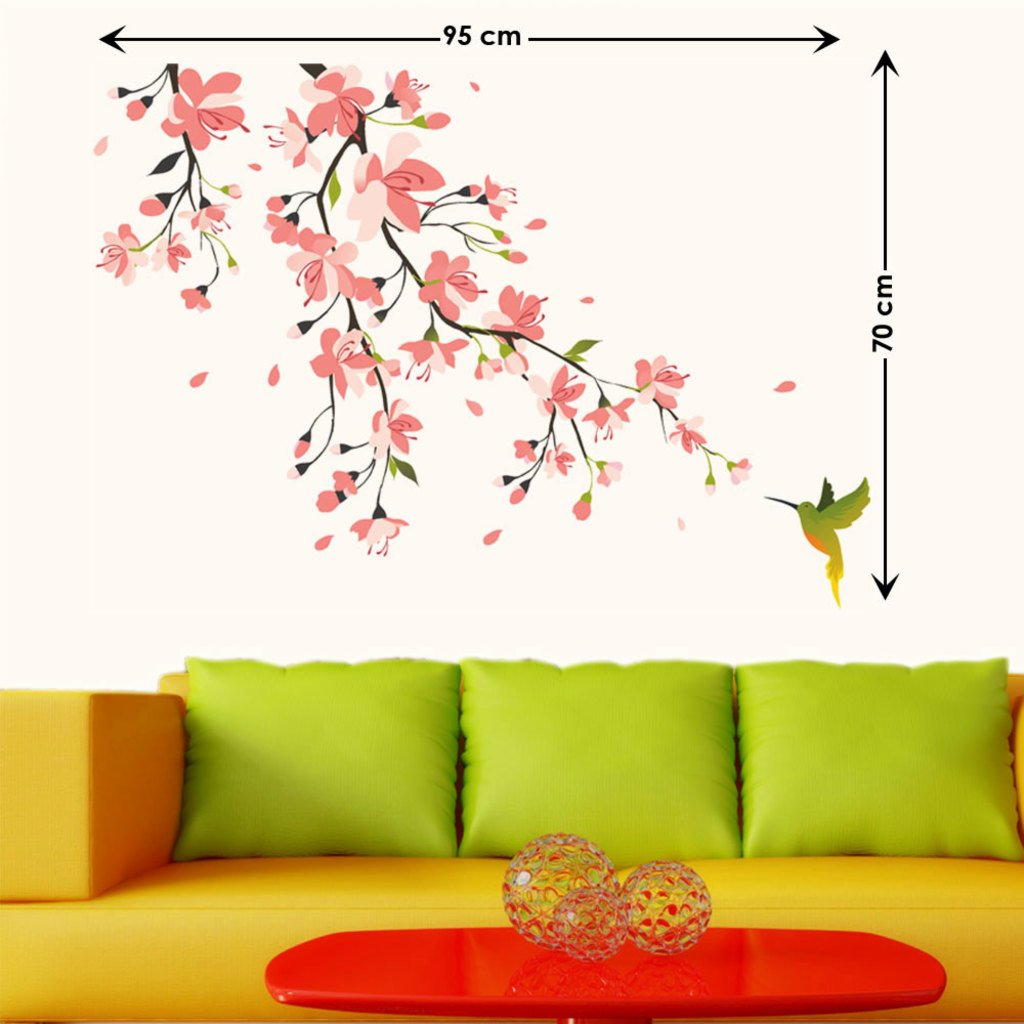 Buy Decals Design U0027Humming Bird And Pink Blossomsu0027 Wall Sticker (PVC Vinyl,  50 Cm X 70 Cm) Online At Low Prices In India   Amazon.in Part 58