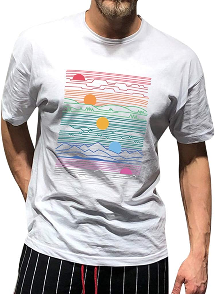 T-Shirts for Mens Standard Fit Short Sleeve Crew Neck Sun Rise Print Casual Basic Tops Tee