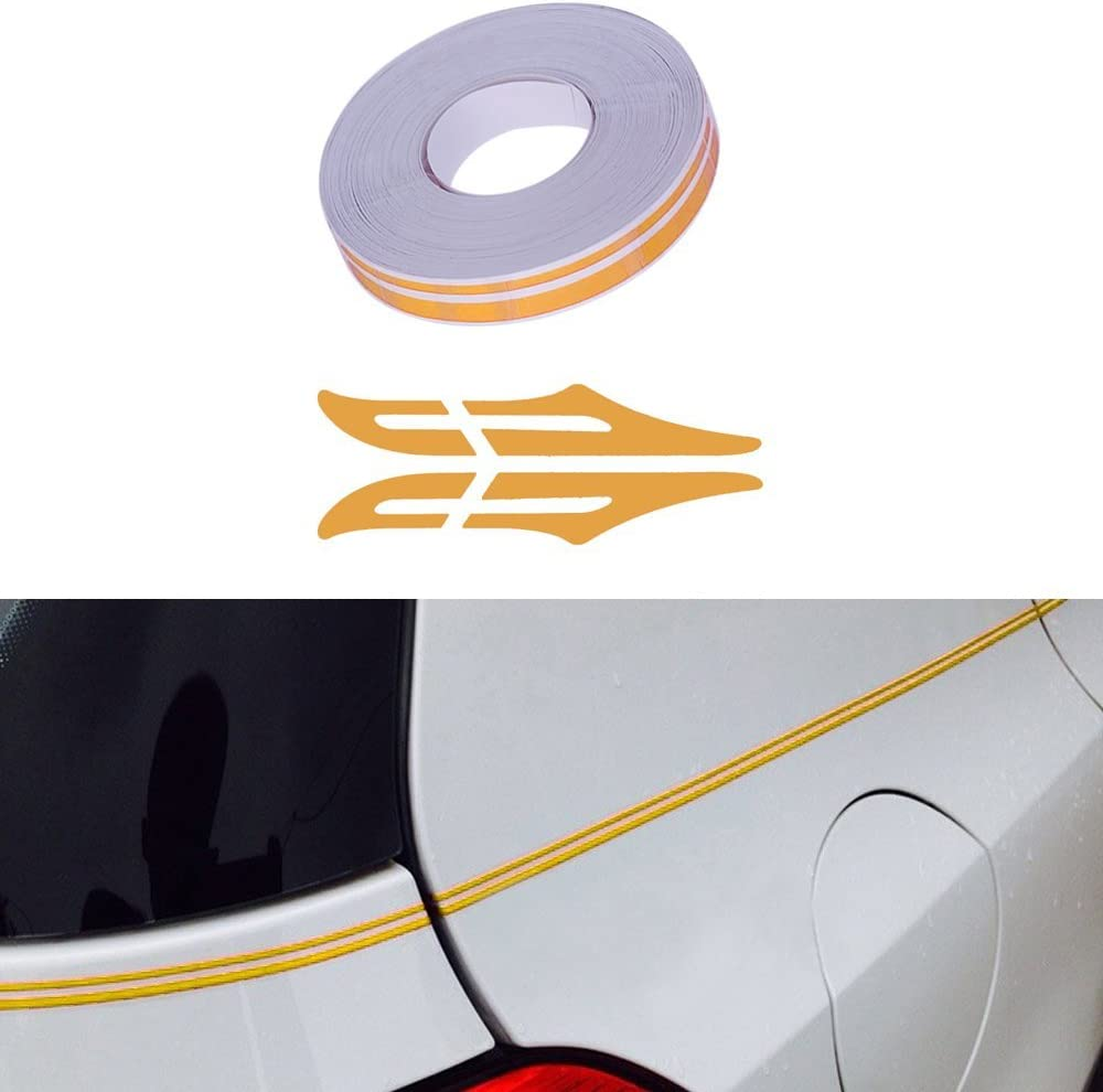 Amazon Com Pme 12mm 0 5 Pinstripe Pinstriping Pin Stripe Decals Vinyl Tape Stickers For Cars Yellow Sticker Automotive