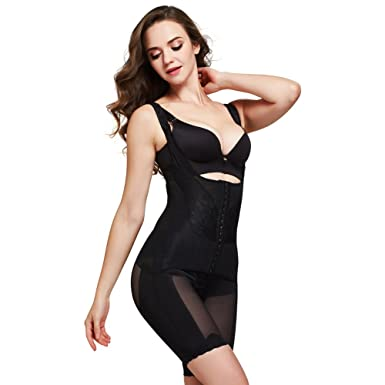 ef4ea5985b948 Queenral Women s Seamless Shapewear Slimming Bodysuit Open Bust Body Shaper  Stomach and Thighs Slimmer Bodysuit Black