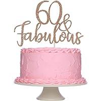 Rose Gold Glittery 60 & Fabulous Birthday Cake Topper - 60th Birthday Party Decorations, 60 Birthday Cake Decorations…