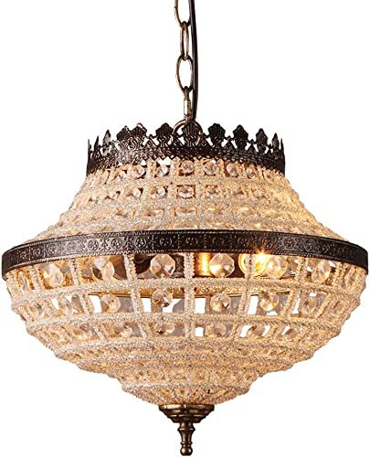 TABLIGHT1-Light Round Metal Crystal Pendant Hanging Ceiling Chandelier Light