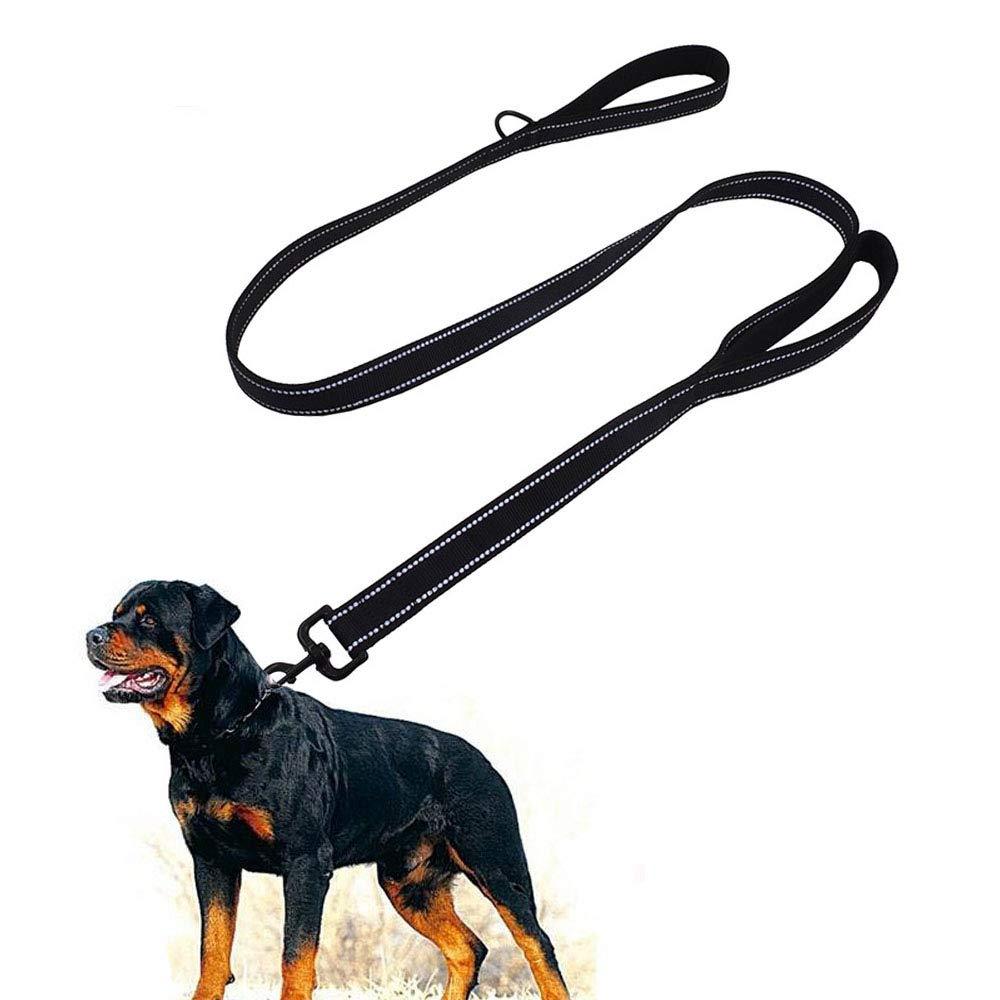 Top-Newest Large Dog Leash, 1.5m Double Handles Dog Lead Heavy Duty Strong Nylon Dog Leash Training Leash Control Safety Training for Large Medium Dogs, Reflective design